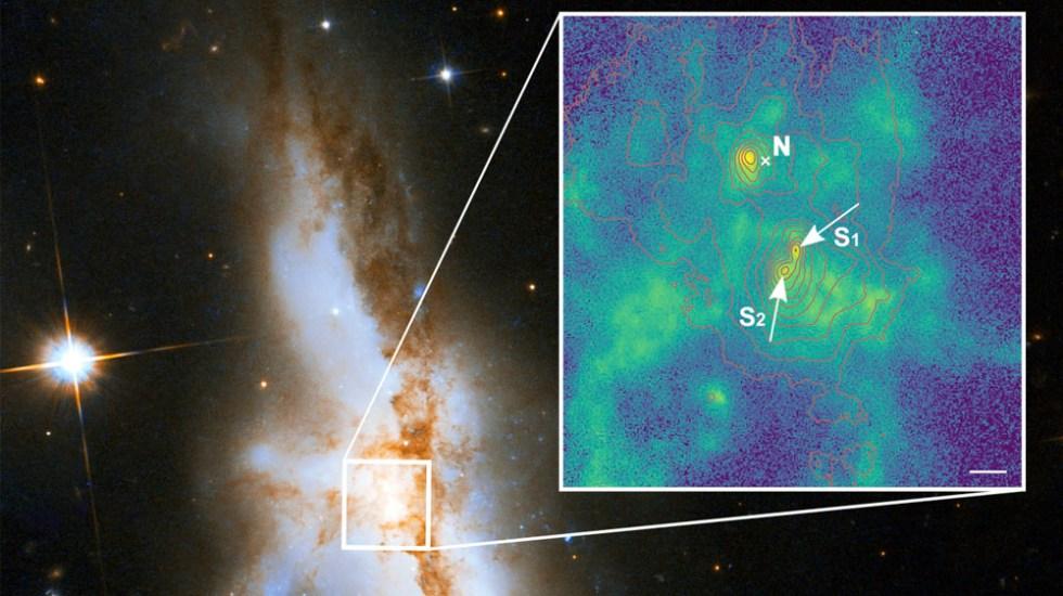Detectan tres agujeros negros supermasivos en galaxias que se fusionan - Detectan tres agujeros negros supermasivos en galaxias que se fusionan