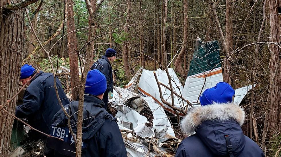 Confirman siete muertos en accidente aéreo en Canadá - Avión pequeño que se estrelló en Ontario, Canadá. Foto de @TSBCanada