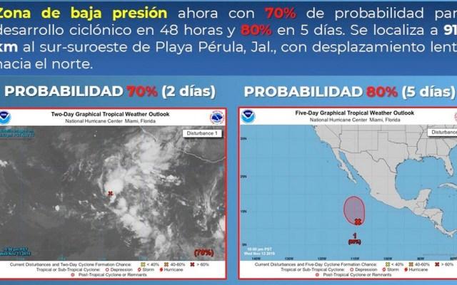 Baja presión en el Pacífico con 70 por ciento de probabilidad para desarrollo ciclónico - baja presion jalisco
