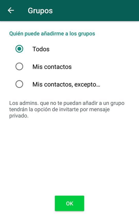 Excluir contactos para que puedan agregarte a grupos de WhatsApp. Foto de LDD