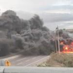 Pipa vuelca y explota en la carreteraVeracruz-Cardel