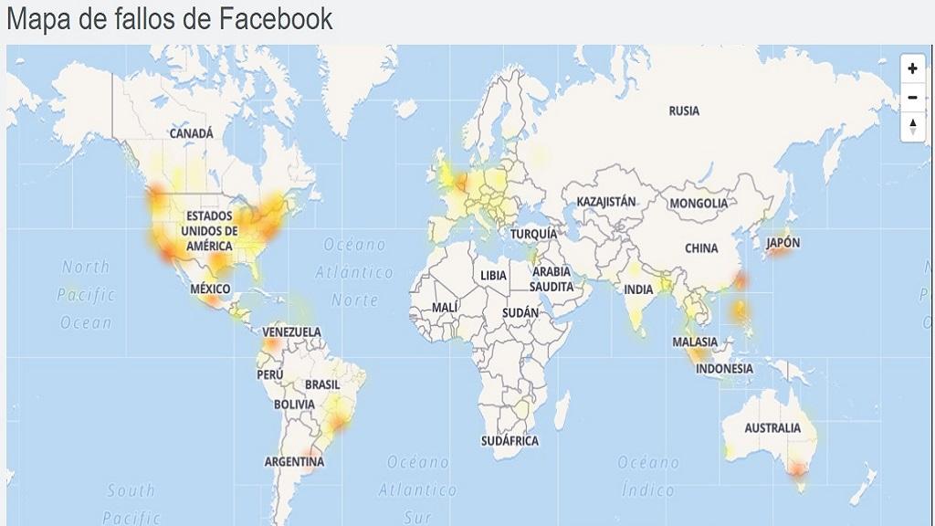 Mapa de fallas en Facebook. Foto de Downdetector