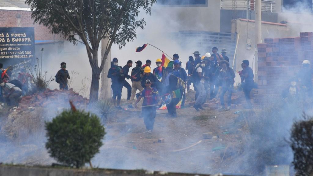 Manifestantes en Bolivia. Foto de EFE