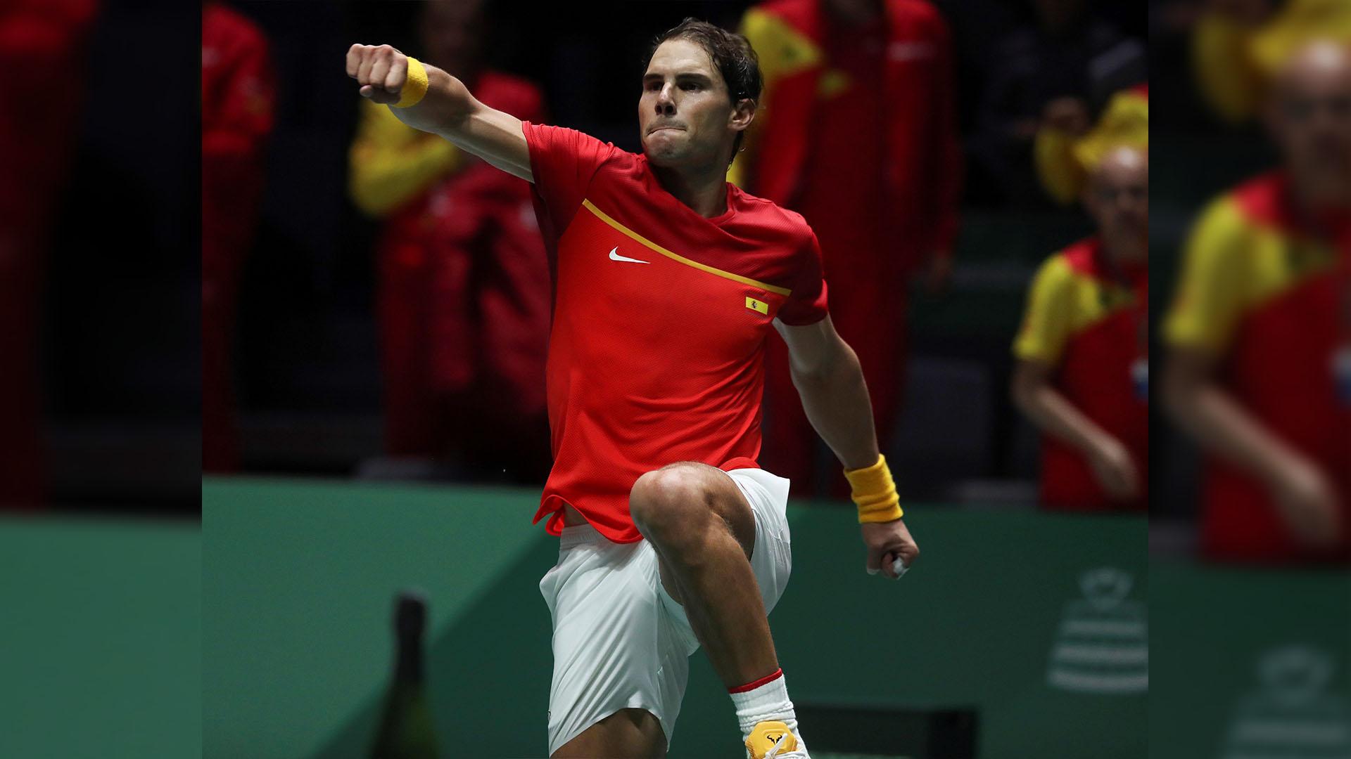 Rafael Nadal celebra triunfo sobre Croacia. Foto de EFE