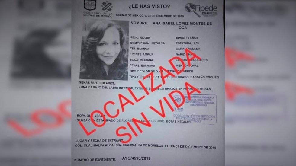 Localizan en Cuajimalpa casa donde presuntamente fue asesinada Ana López Montes de Oca - Foto de Gobierno de la Ciudad de México