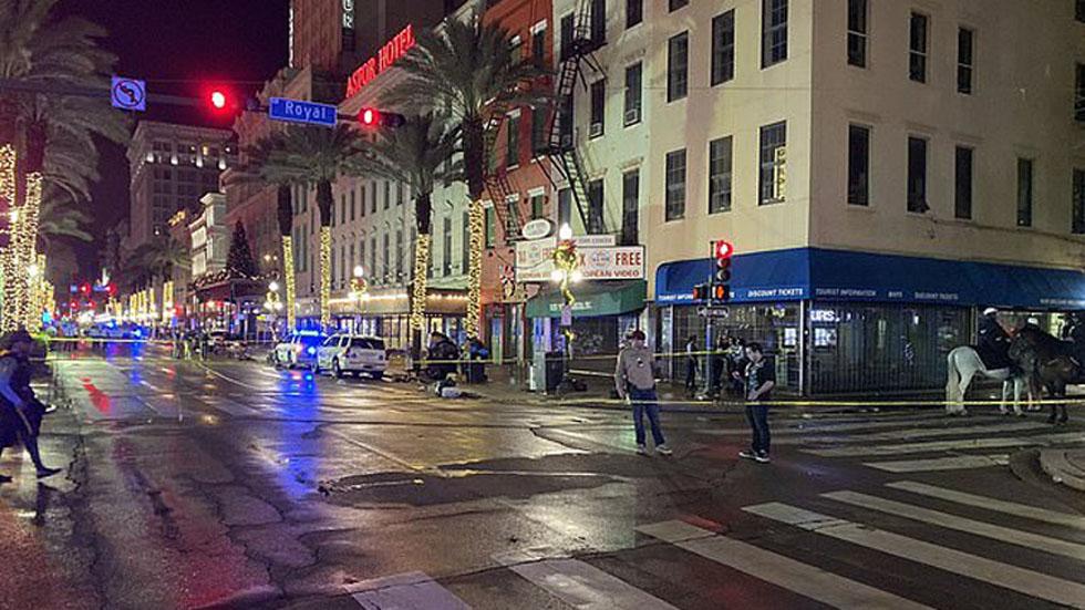 Al menos 11 heridos por tiroteo en barrio francés de Nueva Orleans - Escena donde ocurrió tiroteo en Nueva Orleans. Foto de WWLTV