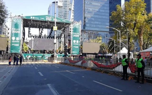 Más de 2 mil policías resguardarán concierto de fin de año en la CDMX - Escenario del concierto de fin de año en la Glorieta de la Palma. Foto Especial