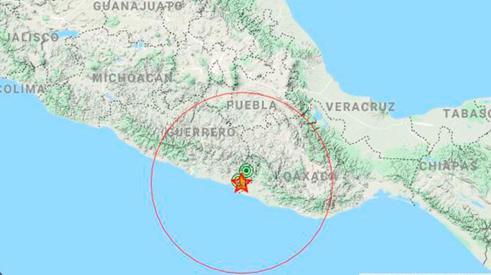 Sismo magnitud 4.1 despierta a Ometepec, Guerrero - Localización de sismo en Ometepec, Guerrero. Foto de @SASMEX