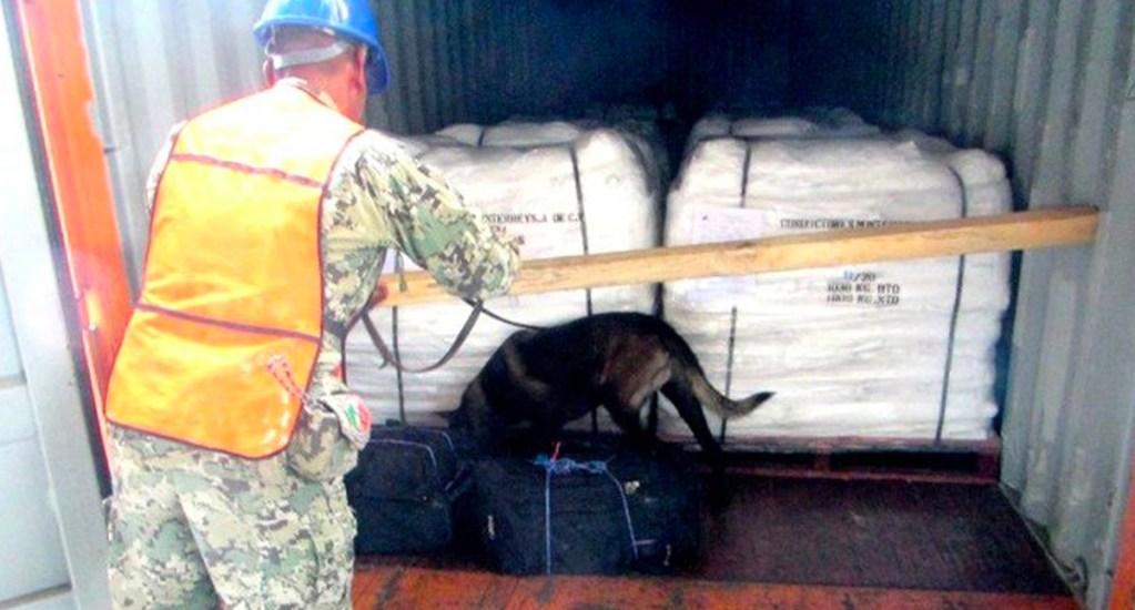 #Video Binomio canino encuentra 56 kg de cocaína en Puerto de Lázaro Cárdenas - Binomio canino de la SEEMAR