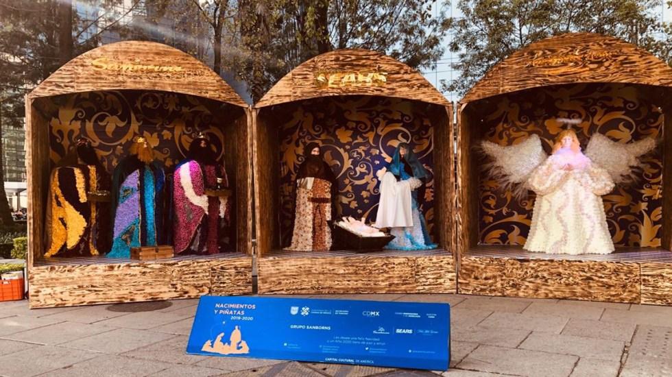 Ciudad de México se llena de nacimientos durante la Navidad - Nacimiento sobre Paseo de la Reforma de Grupo Sanborns. Foto de @TurismoCDMX