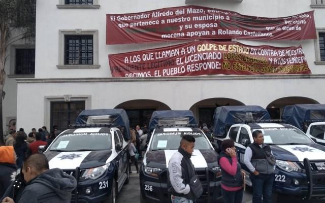 Policías toman palacio municipal de Los Reyes La Paz - Policías municipales Los Reyes La Paz