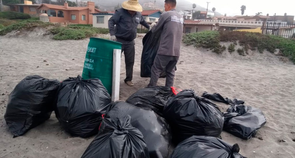 Recolectan 185 toneladas de basura en costas de Ensenada - Recolección de basura en Ensenada. Foto del Gobierno de Ensenada