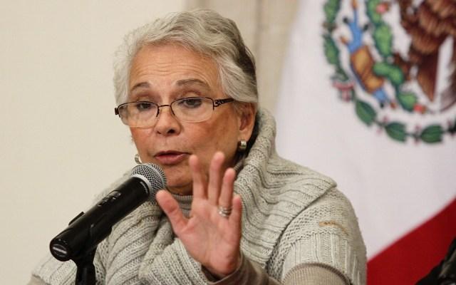 Detención de 'El Marro', ejemplo de coordinación entre instituciones; expresa Sánchez Cordero - Olga Sánchez Cordero, titular de la Segob, en conferencia de prensa. Foto de Notimex