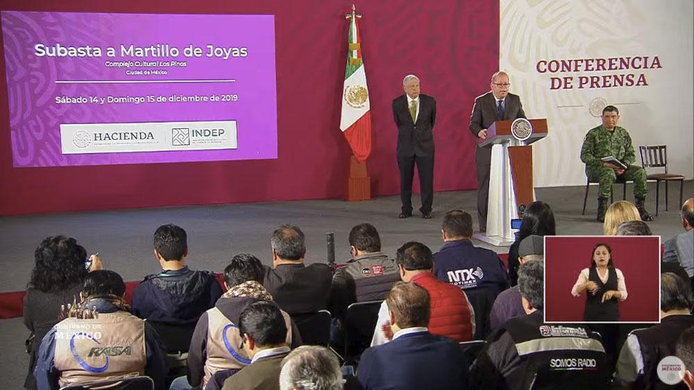 SAE anuncia 'megasubasta' de joyas y vehículos de lujo - Conferencias Andrés Manuel López Obrador. Captura de pantalla