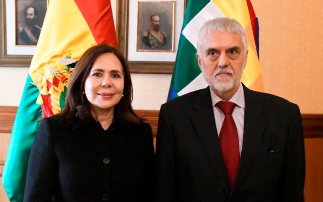 México y Bolivia tienen primer acercamiento tras conflicto diplomático - Embajadora de Bolivia, Karen Longaric, y Edmundo Font, nuevo encargado de Negocios a.i. de México. Foto de @MRE_Bolivia