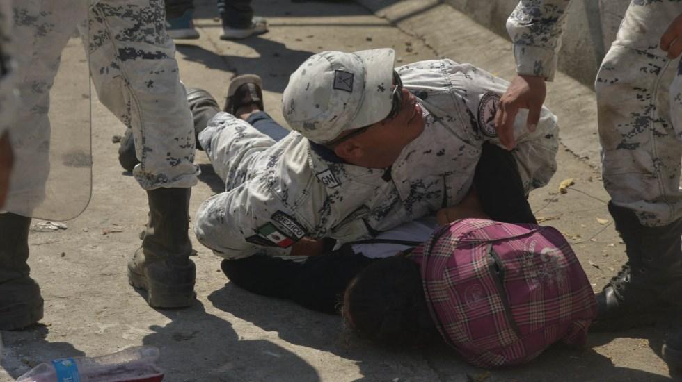 Indagan a Guardia Nacional por posible uso excesivo de la fuerza en frontera sur - Guardia Nacional Migrantes caravana
