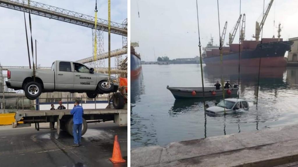 Marinos a bordo de camioneta caen al agua en Veracruz - Veracruz camioneta mar puerto