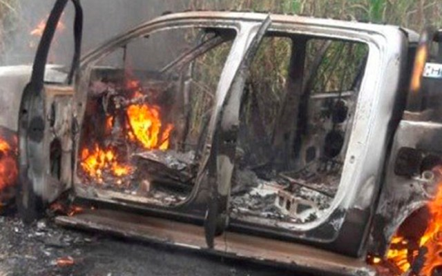 Ataque terrorista de Sendero Luminoso en Perú deja dos civiles muertos - Ataque a patrulla de la Policía Nacional de Perú. Foto de La República