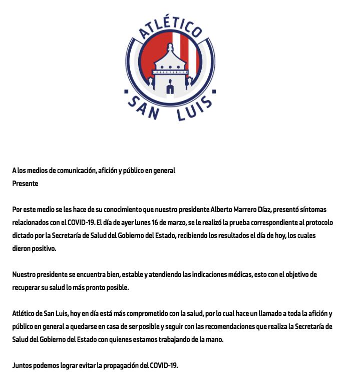 Alberto Marrero, presidente del Atletico de San Luis, dió positivo al covid19