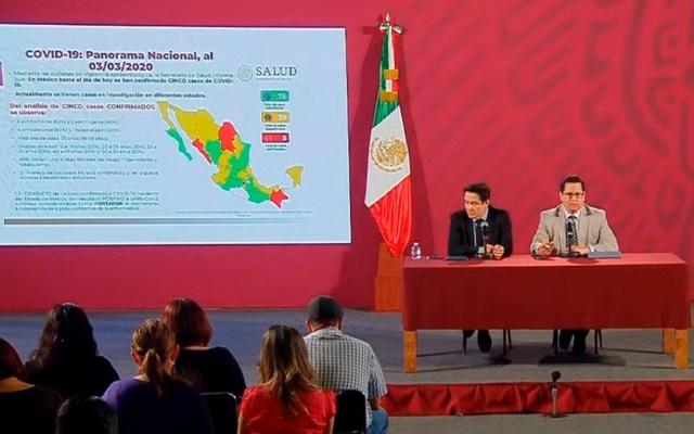 Hay 39 casos sospechosos de COVID-19 en México; casos confirmados se mantienen en cinco - Conferencia del COVID-19 el 03 de marzo. Foto de SSa