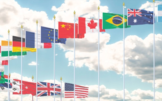 Declaración Conjunta del G20 sobre coronavirus - Banderas del G-20. Foto de Archivo.