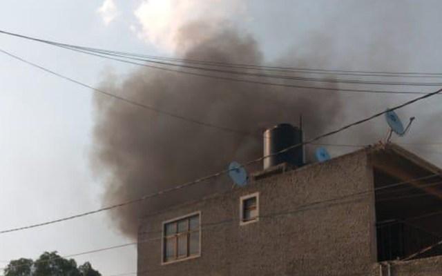 Estalla pirotecnia en casa habitación de Tultepec - Explosión de pirotecnia en casa habitación en Tultepec. Foto Especial