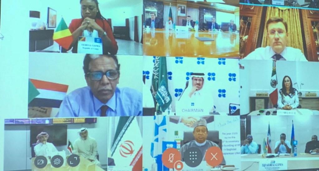 OPEP+ cierra acuerdo para recortar producción en 9.7 millones de barriles diarios - OPEP conferencia acuerdo petróleo