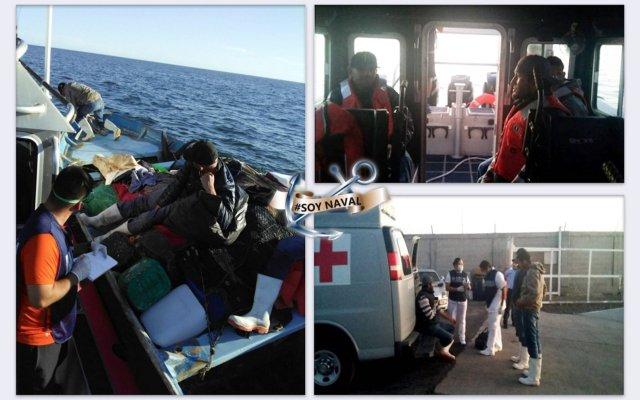Rescatan a tres náufragos en Sinaloa - Foto de Semar