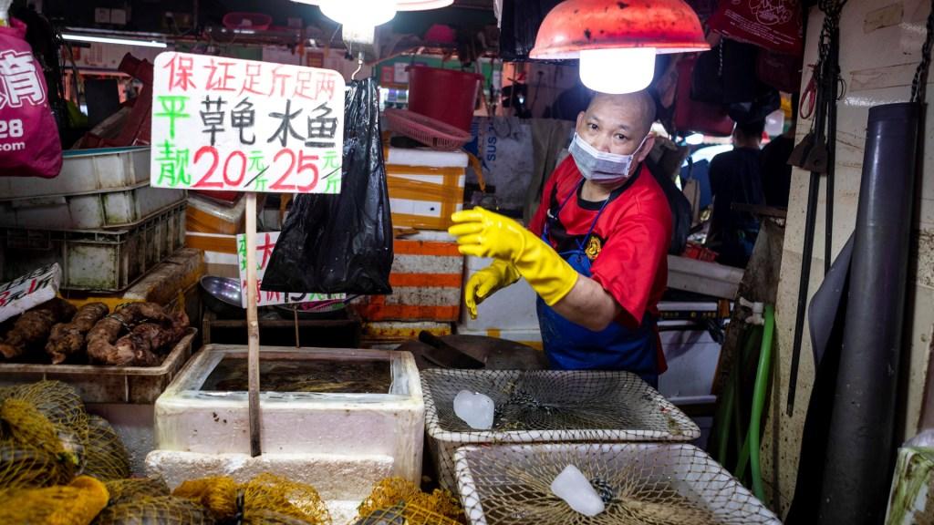 COVID-19 se originó en granja al sur de China, sugiere investigador de OMS - Mercado húmedo en Guangzhou, provincia china de Guangdong. Foto de EFE