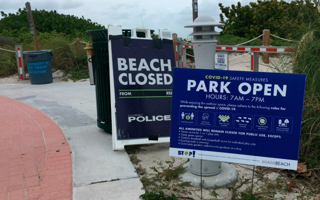 Miami iniciará el lunes la fase uno de reapertura económica por COVID-19 - Playa cerrada de Miami