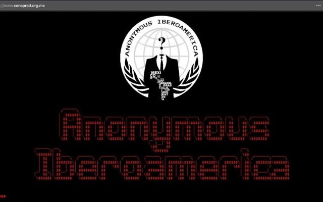 Hackean página web de Conapred; denuncian censura en el Gobierno de México - Desplegado de Anonymous Iberoamérica. Captura de pantalla