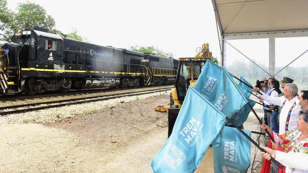 Acusan al Gobierno de México por estigmatizar a organizaciones que critican al Tren Maya - Banderazo de salida al tramo 3 Calkiní – Izamal del Tren Maya. Foto de lopezobrador.org.mx