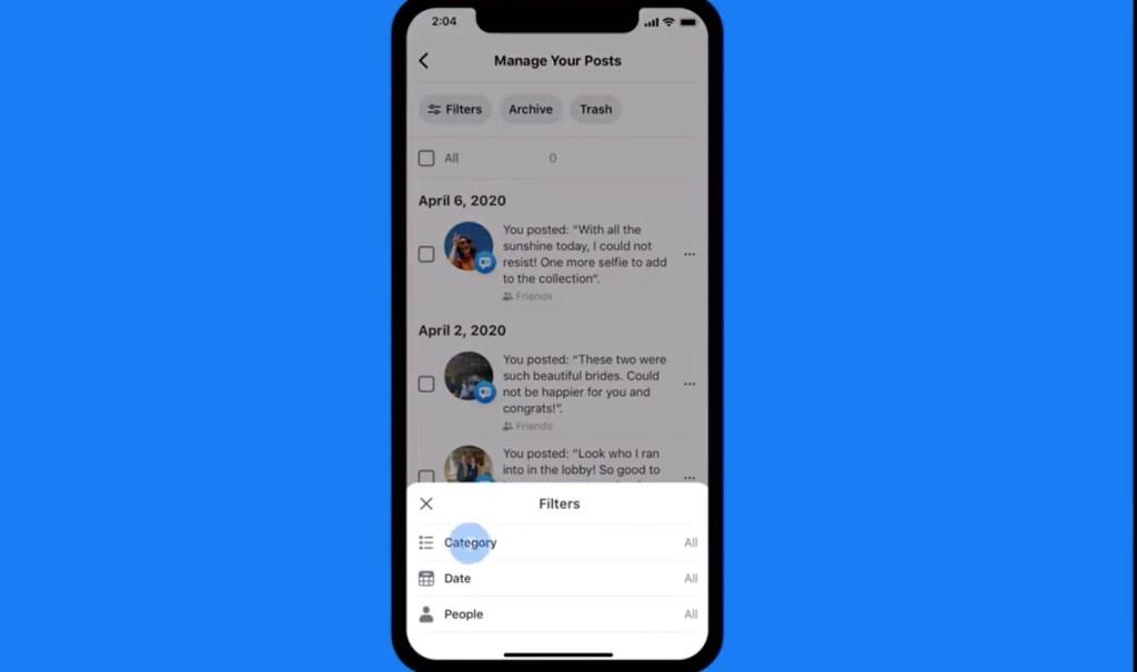 Facebook lanza función para borrar publicaciones antiguas - Captura de pantalla