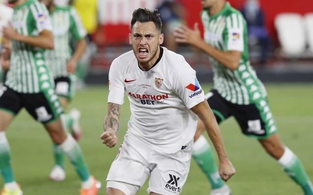 Sevilla se lleva histórico derbi frente al Betis en el regreso de LaLiga - Lucas Ocampos, celebra el gol que le dio la victoria al Sevilla contra el Betis en el regreso de LaLiga por el COVID-19. Foto de EFE