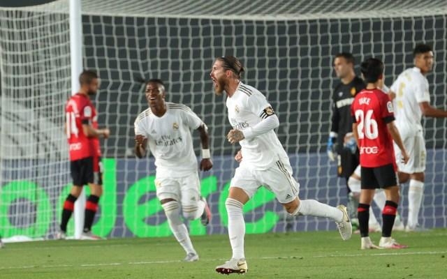 Vinicius y Ramos definen victoria del Real Madrid sobre el Mallorca - Sergio Ramos festeja el gol que anotó contra el Mallorca, que definió la victoria del Real Madrid. Foto de EFE