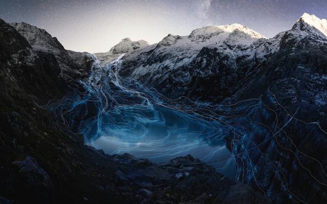 Cambio climático inspira obras que invitan al cuidado del medioambiente - Visualización del sorprendente retroceso de los glaciares Rhone y Trift en Suiza durante los últimos 140 años. Foto de Google