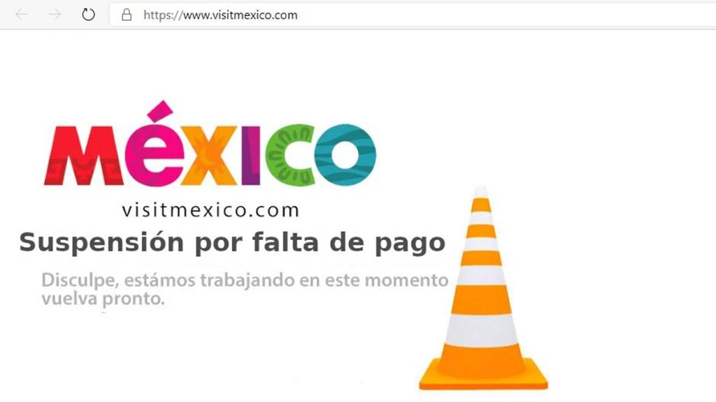 Suspenden página de Visit México por falta de pago - Página de Visit México no disponible. Captura de pantalla