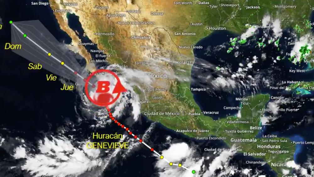 Huracán 'Genevieve' llegaría la madrugada del jueves a Los Cabos; podría tener efectos devastadores - Foto de @ChaacTlaloc