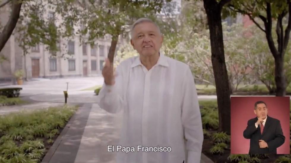 Ordena INE retirar spot de López Obrador en el que alude al papa Francisco y el Evangelio - Spot en el que AMLO menciona al papa Francisco. Captura de pantalla