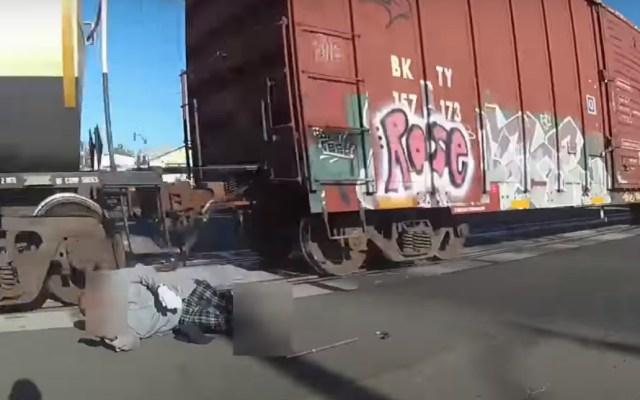 #Video Policía en California rescata a hombre en silla de ruedas de ser arrollado por tren - Tren hombre silla de ruedas California policía