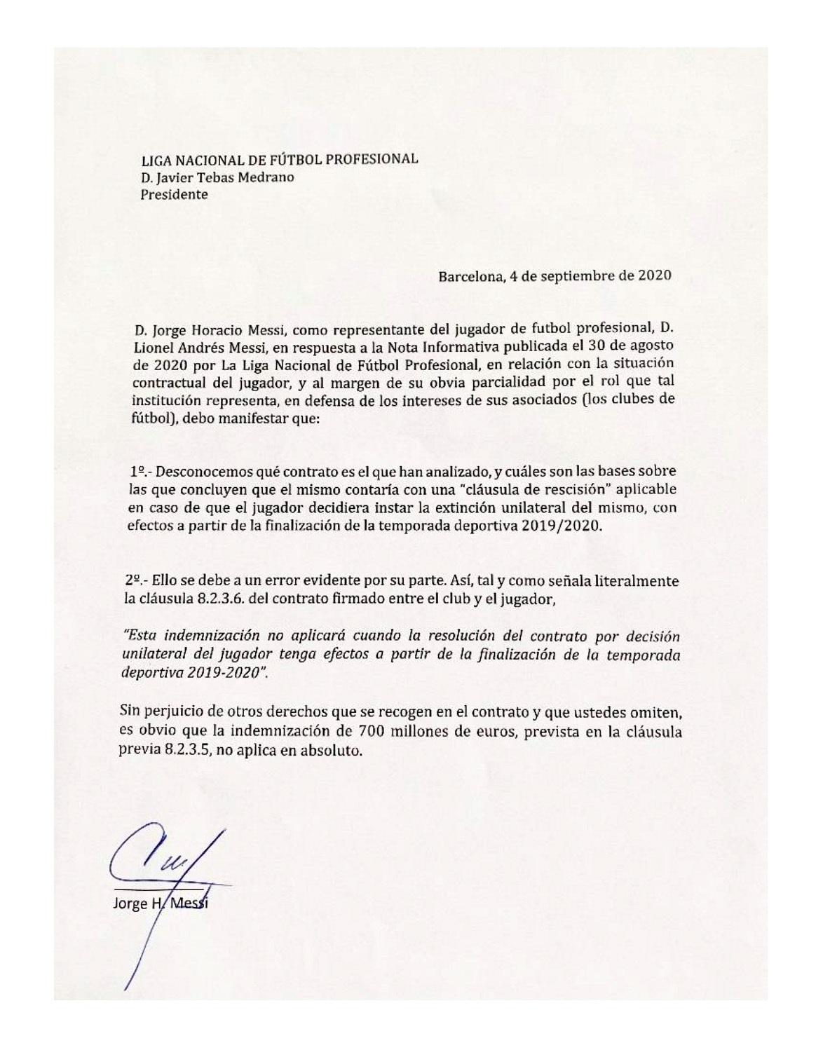 Jorge Messi, padre y representante del delantero del Barcelona Lionel Messi, hizo pública este viernes la cláusula del contrato del jugador por la que este puede desvincularse, sin indemnización, del club azulgrana. EFE/Jorge Messi