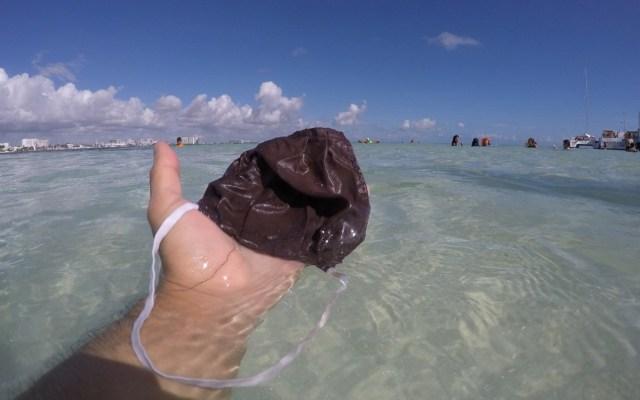 Cubrebocas, nueva basura en playas del Caribe mexicano - Cubrebocas en el mar del Caribe mexicano. Foto de EFE