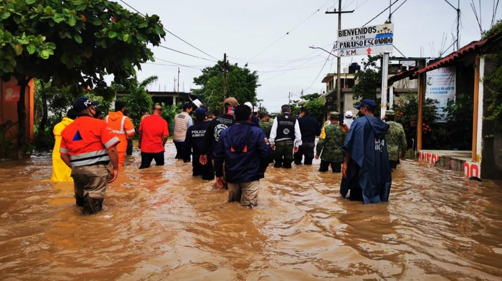 Declaran en Guerrero zona de desastre y de emergencia 43 municipios por paso de Hernán - Evaluación de afectaciones en Guerrero por lluvias de la tormenta tropical Hernán. Foto de @PC_Guerrero
