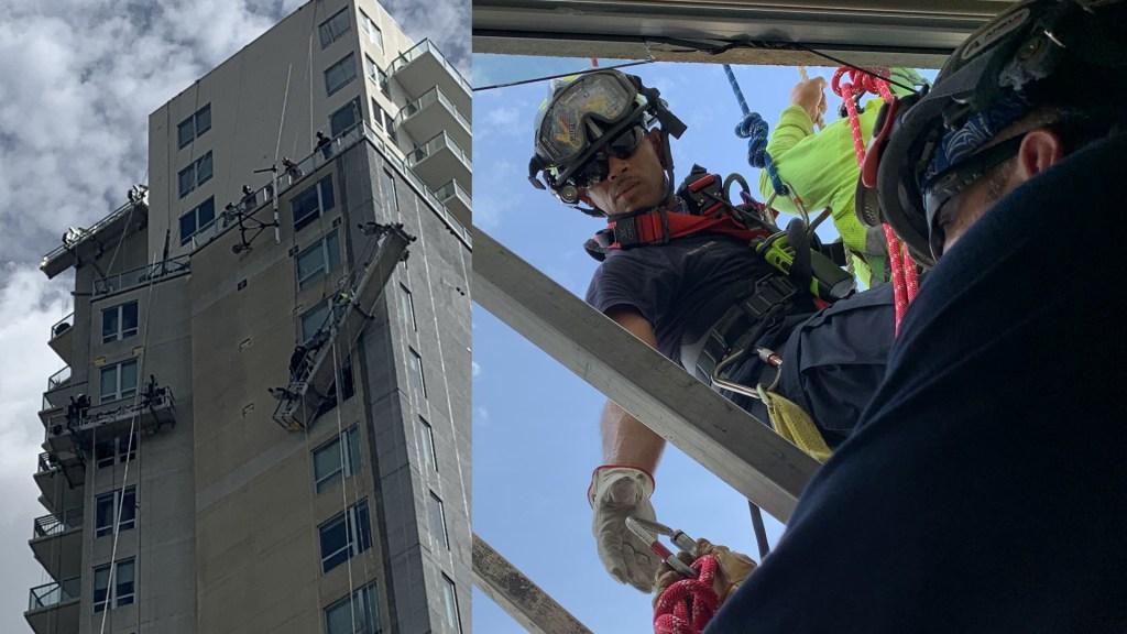 Rescatan en Houston a trabajadores hispanos atrapados en plataformacolapsada - Houston edificio rescate bomberos 2