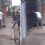 #Video Vecinos sorprenden a presunto criminal en Cuernavaca; lo golpean con machete