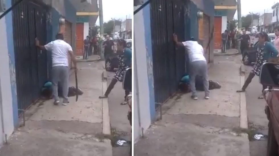 #Video Vecinos sorprenden a presunto criminal en Cuernavaca; lo golpean con machete - Machete golpe Cuernavaca Morelos