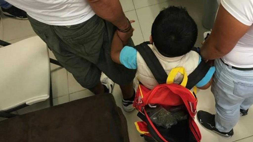 Rescatan en Edomex a niño utilizado para transportar mariguana - Niño rescatado en Huehuetoca luego de ser usado para transportar droga. Foto de @FiscalEdomex
