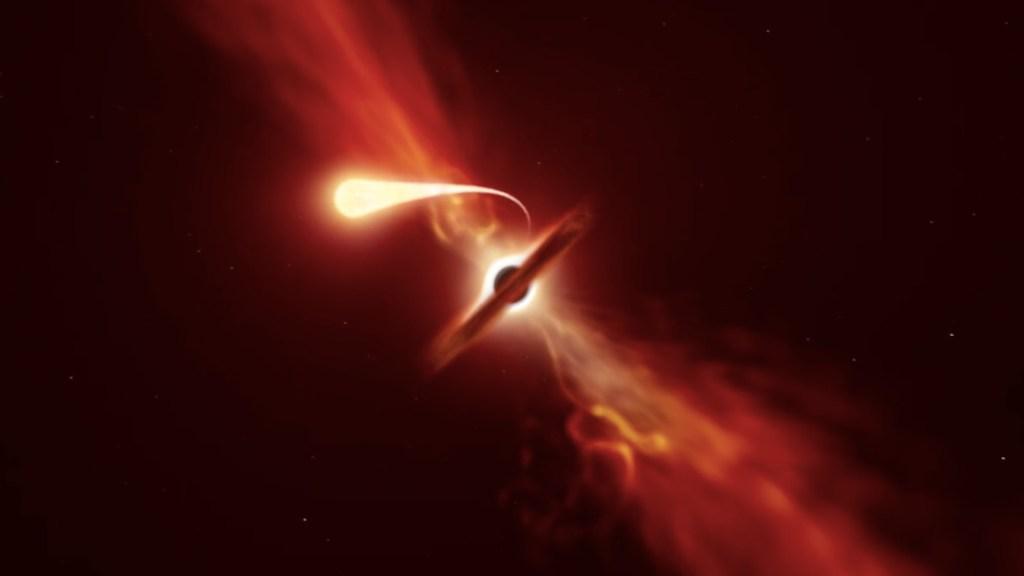 #Video Detectan explosión de estrella desgarrada por agujero negro supermasivo; es la más cercana observada hasta ahora - Foto de ESO