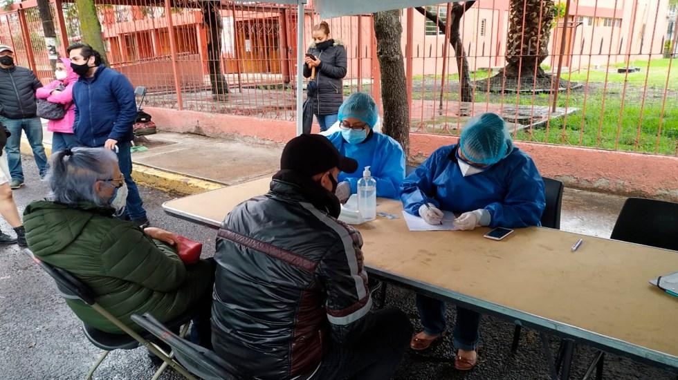Se suman 22 colonias al programa de atención prioritaria en CDMX por COVID-19 - Módulo de detección de casos sospechosos por COVID-19 en Guadalupe del Moral, barrio San Antonio y Aculco, jurisdicción sanitaria de Iztapalapa. Foto Twitter @SSaludCdMx