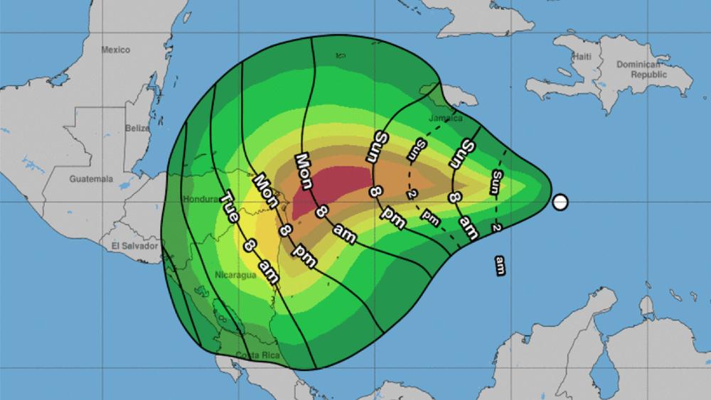 Nueva depresión tropical en el Caribe avanza hacia Nicaragua y Honduras - Foto de NHC